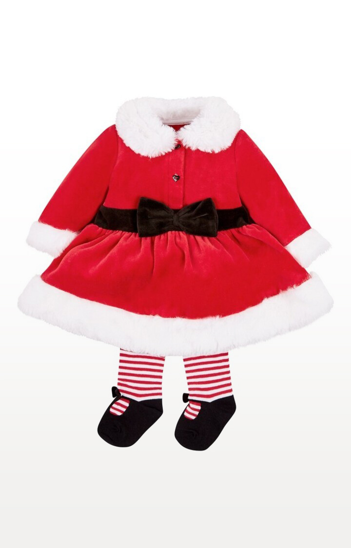 Mothercare | Red Printed Christmas Mrs Santa Dress Up