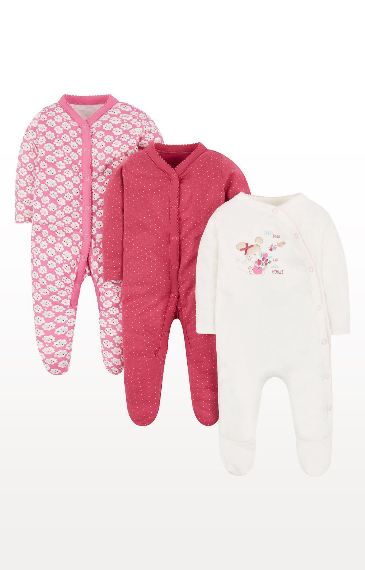 Mothercare | Rose Mouse Sleepsuits - Pack of 3