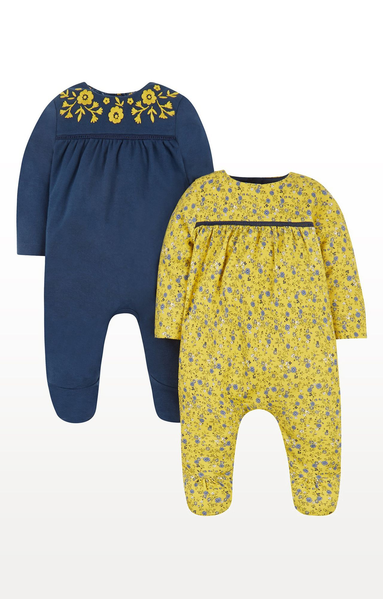 Mothercare | Floral Sleepsuits - Pack of 2
