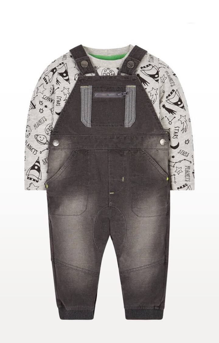 Mothercare | Grey Printed Space Dungaree and T-Shirt Set