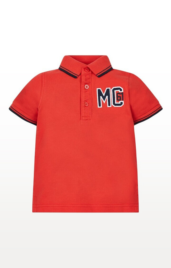 Mothercare   Red Printed Red Pique Polo Shirt
