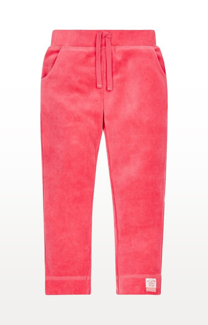 Mothercare | Pink Printed Ribwaist Velour Joggers