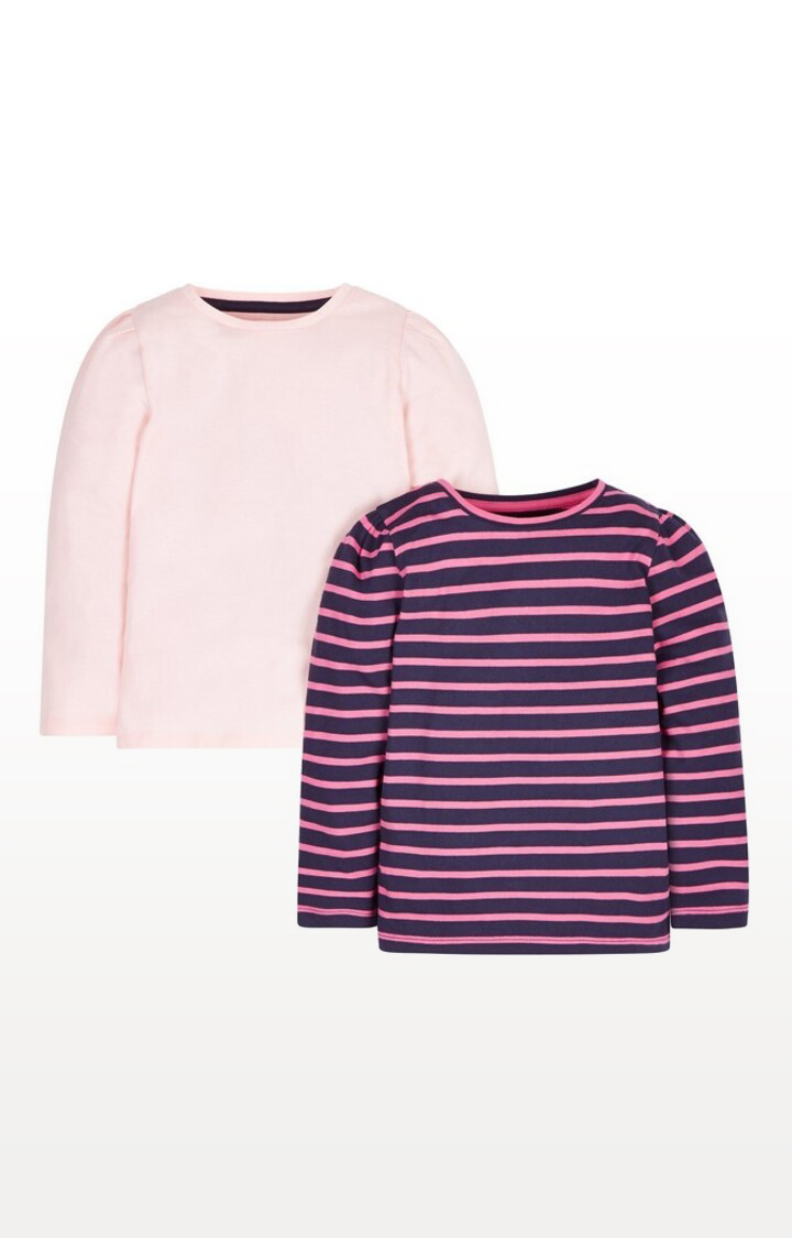 Mothercare | Navy and Pink Striped T-Shirts - Pack of 2