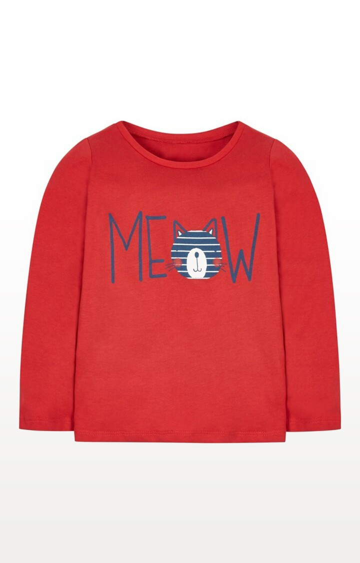 Mothercare | Red Printed Red Meow T-Shirt