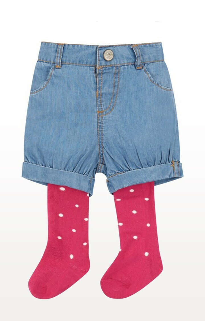 Mothercare | Denim Printed Shorts with Tights