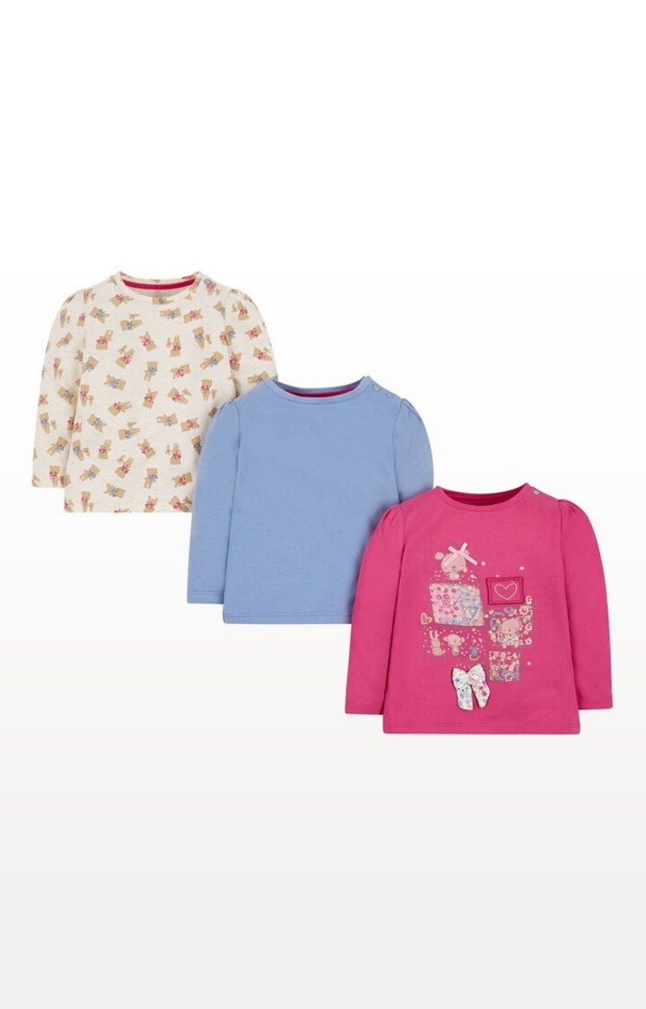 Mothercare | Blue Printed Teddy Bear T-Shirts - Pack of 3