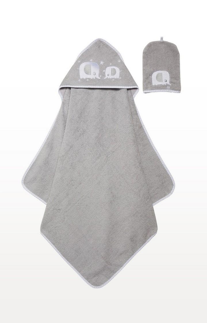 Mothercare | Grey Elephant Cuddle 'N' Dry and Mitt Set