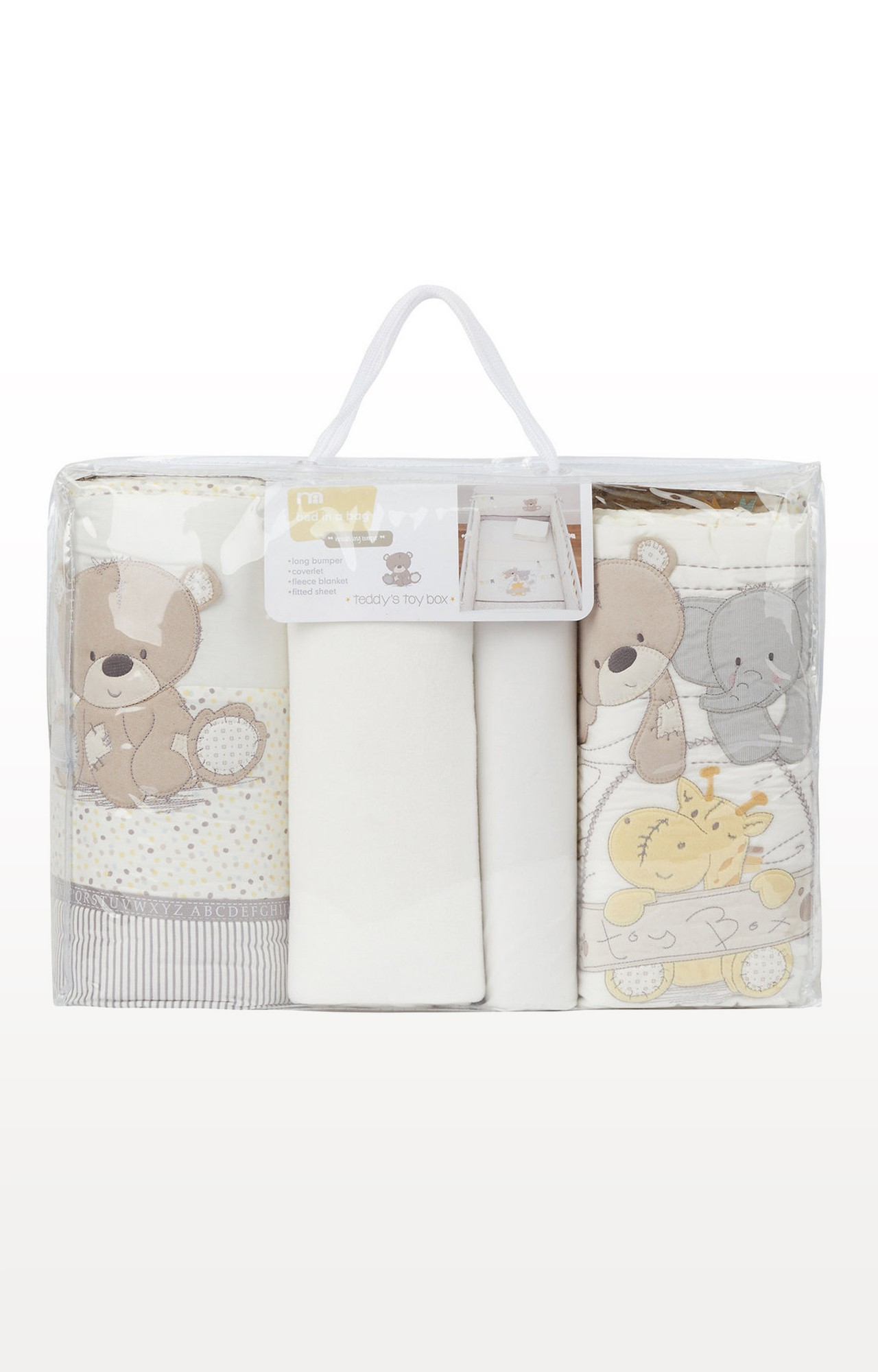 Mothercare   Cream Teddy'S Toy Box Bed In Bag (Includes Long Bumper)