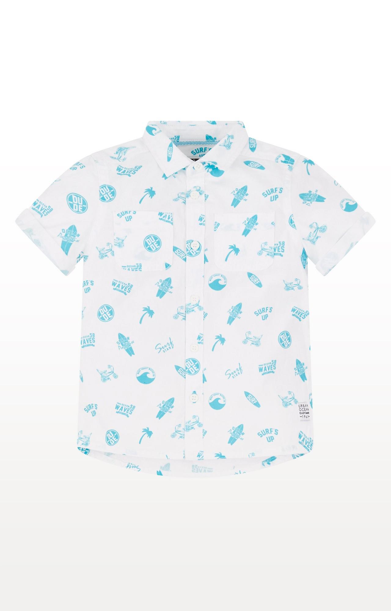Mothercare   White & Blue Printed Shirt