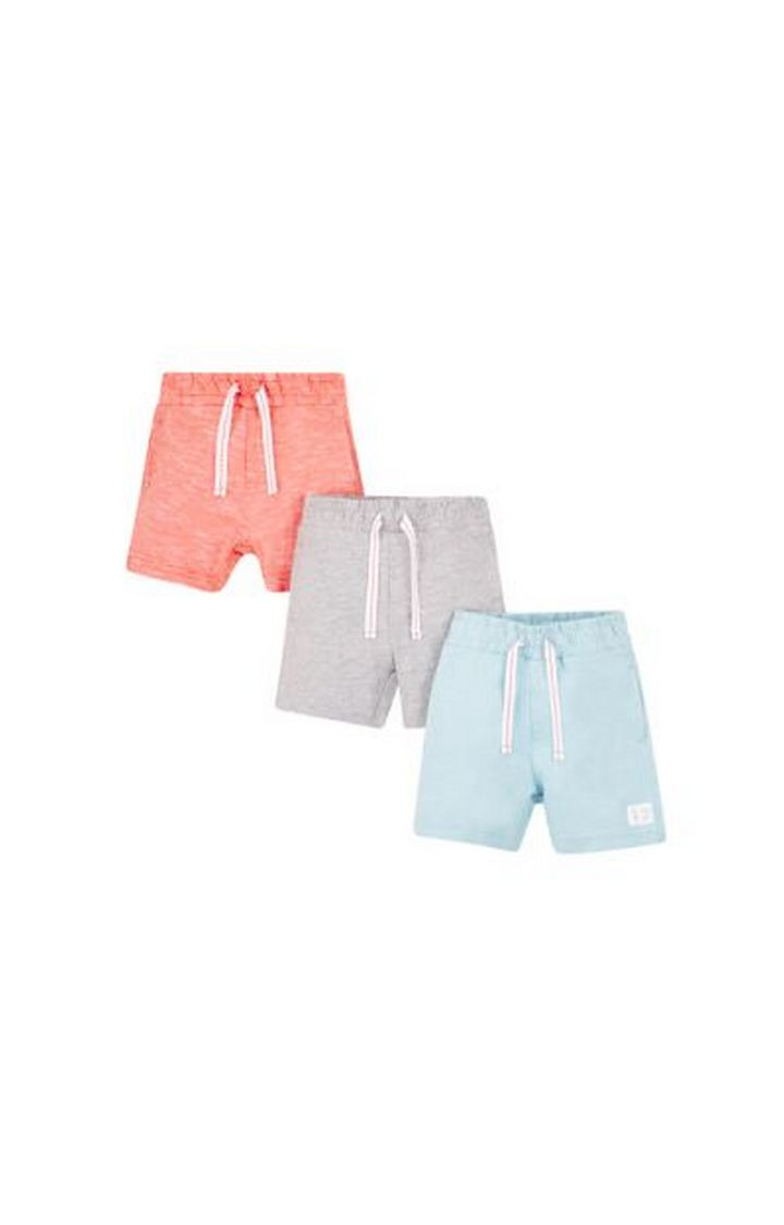 Mothercare | Peach, Grey and Blue Melange Shorts - Pack of 3