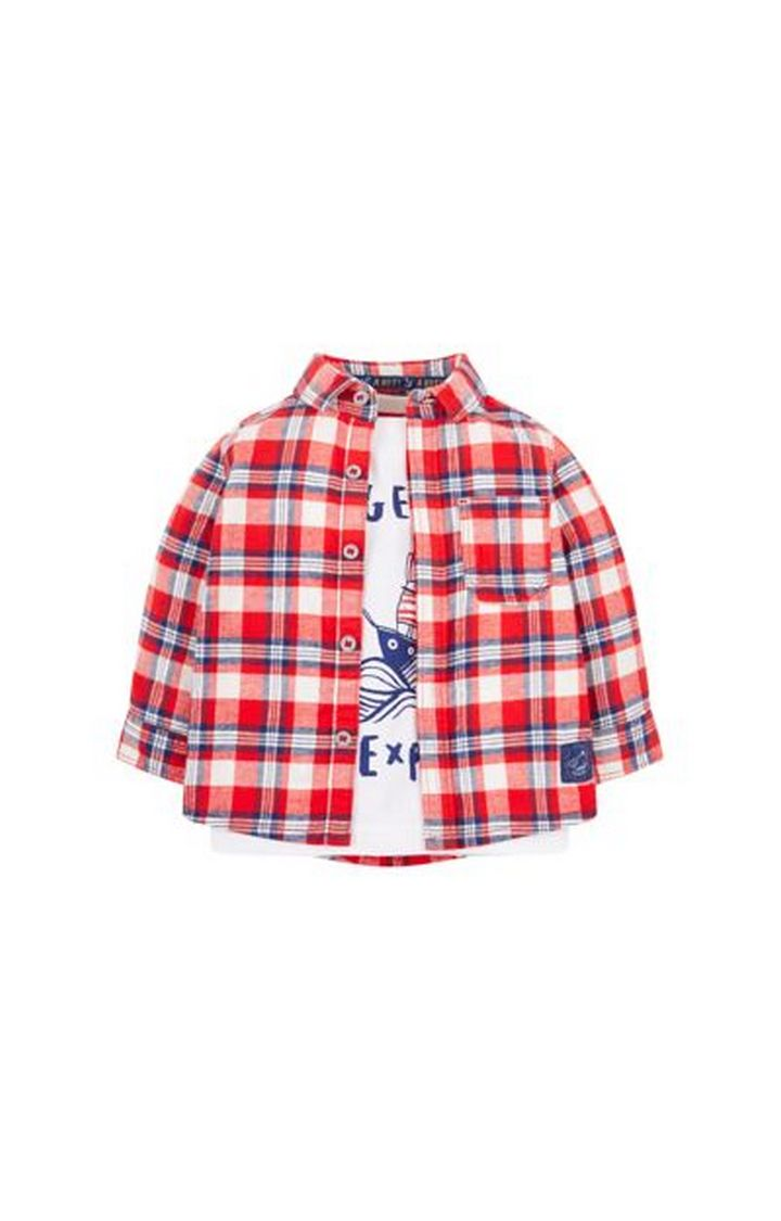 Mothercare | White and Red Printed T-Shirt and Shirt Set