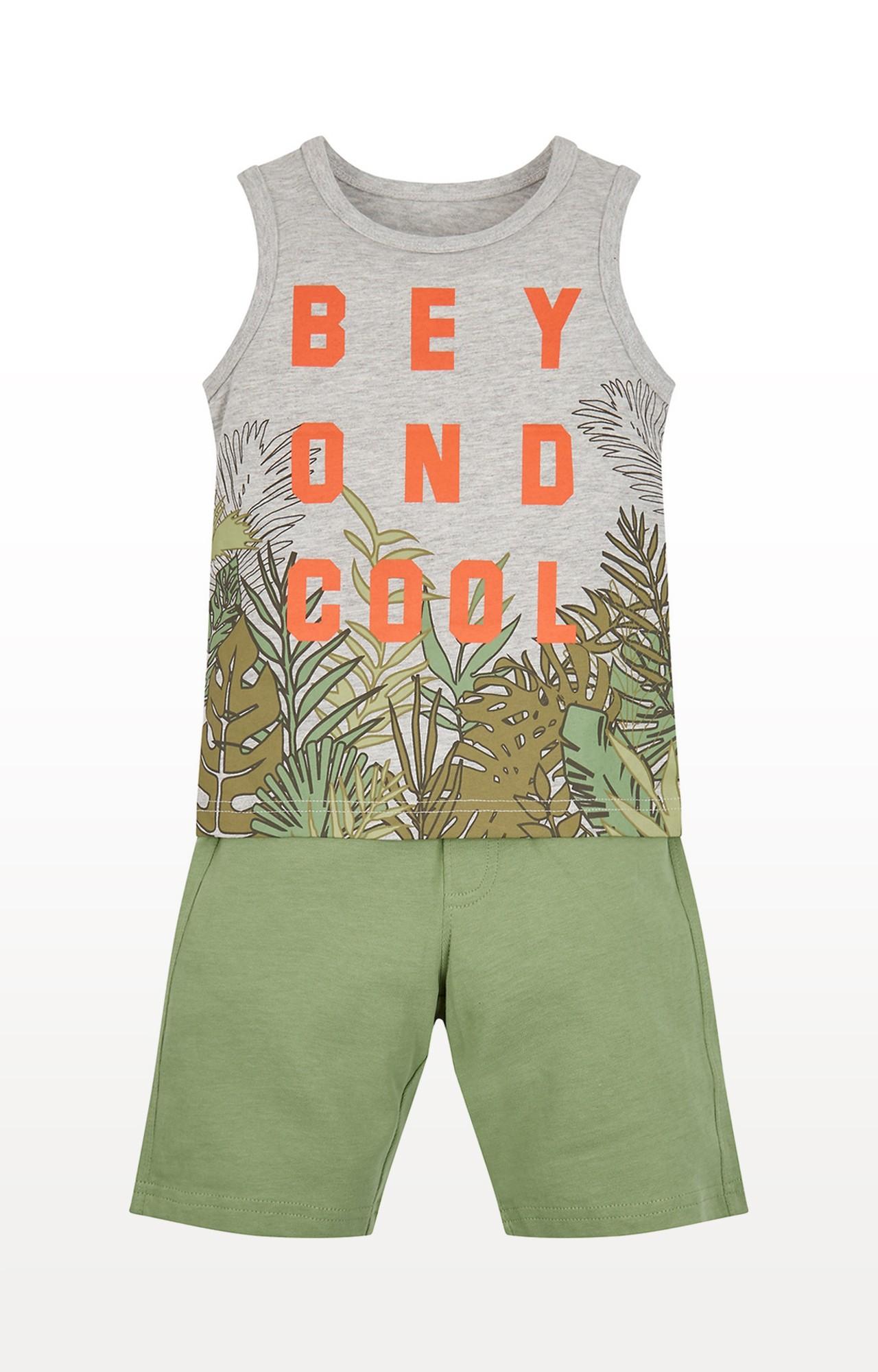 Mothercare   Grey and Green Printed T-Shirt and Pant Set