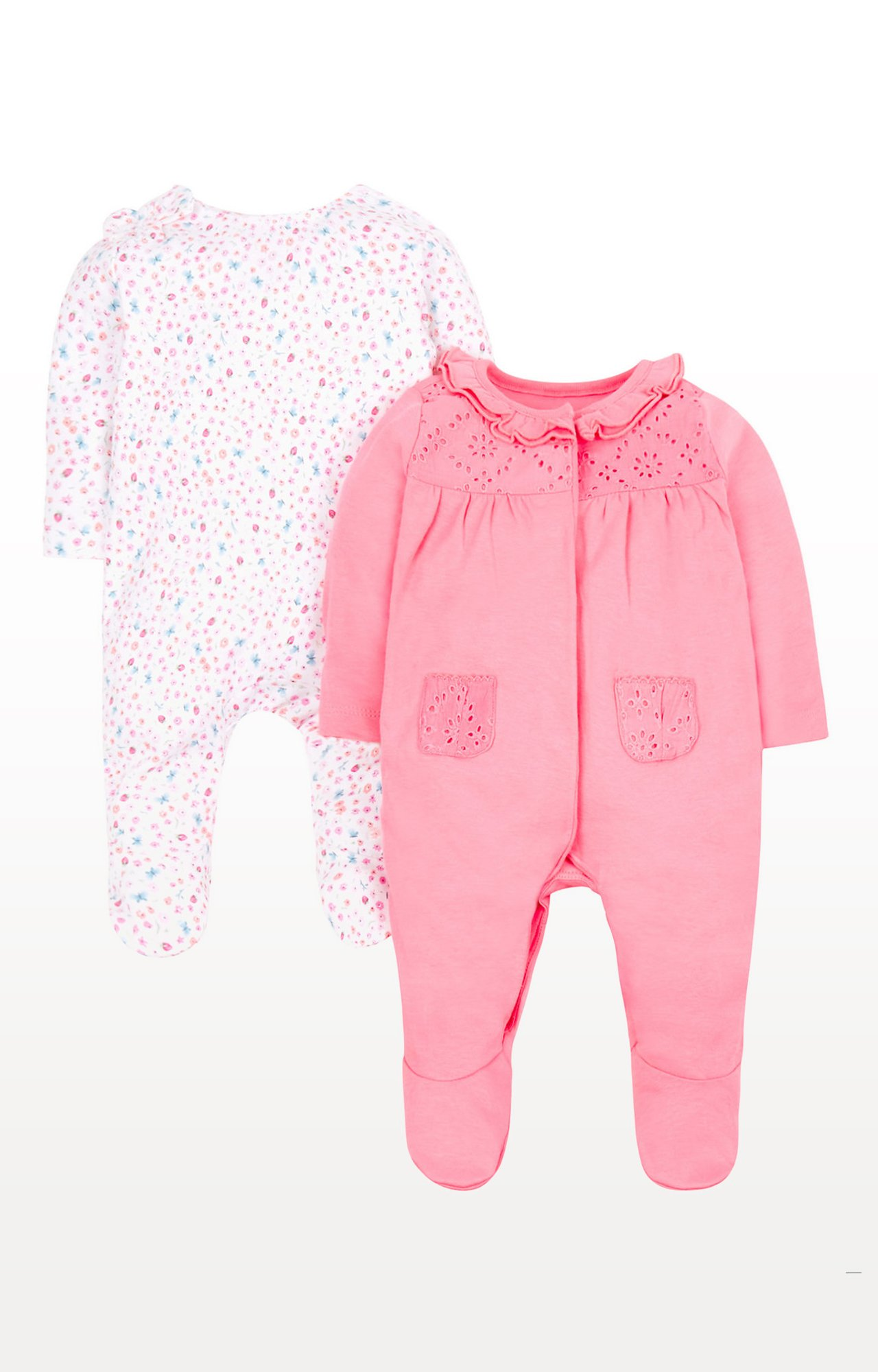 Mothercare   White and Pink Printed Romper - Pack of 2