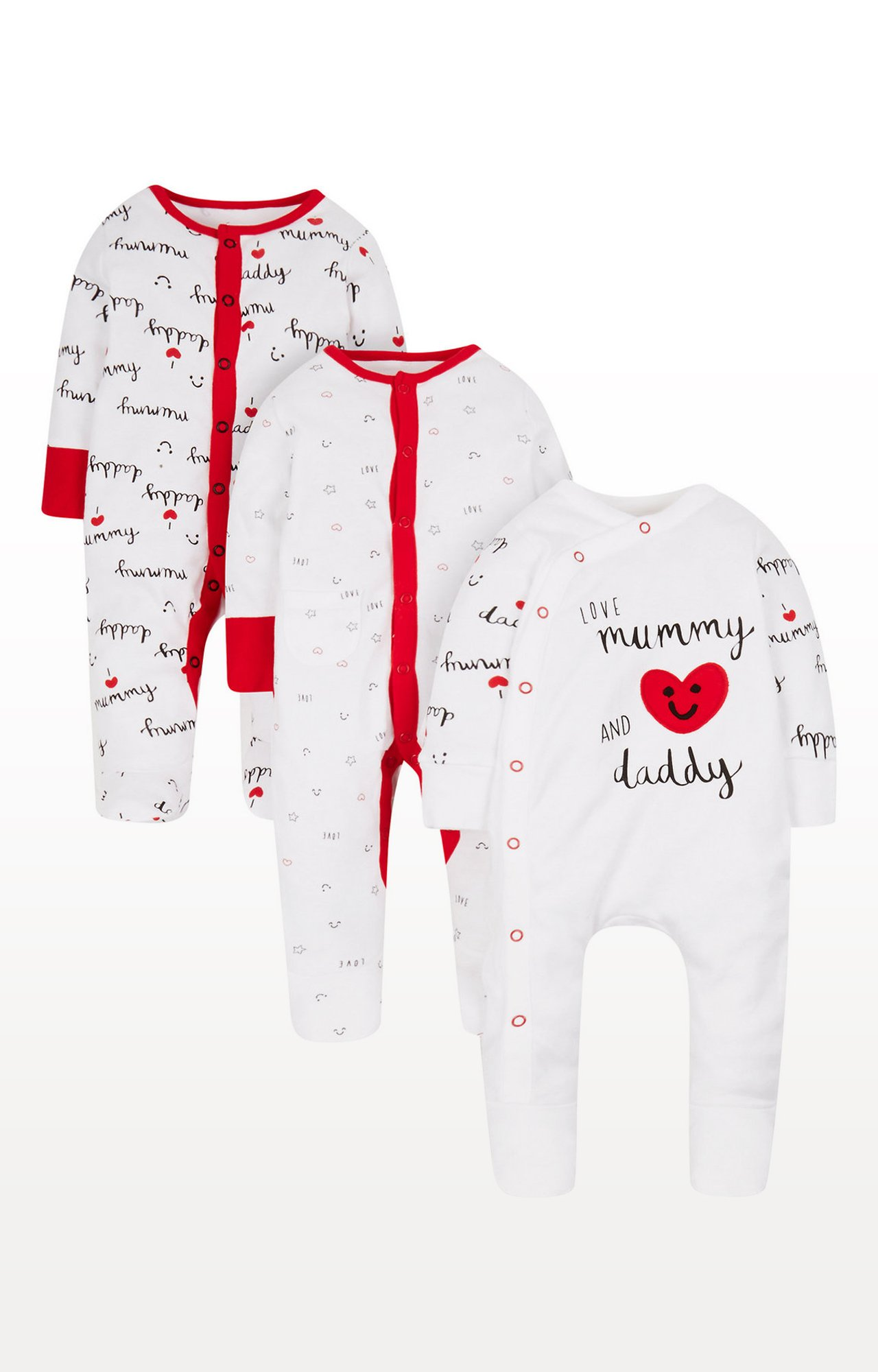 Mothercare   White and Red Printed Romper - Pack of 3