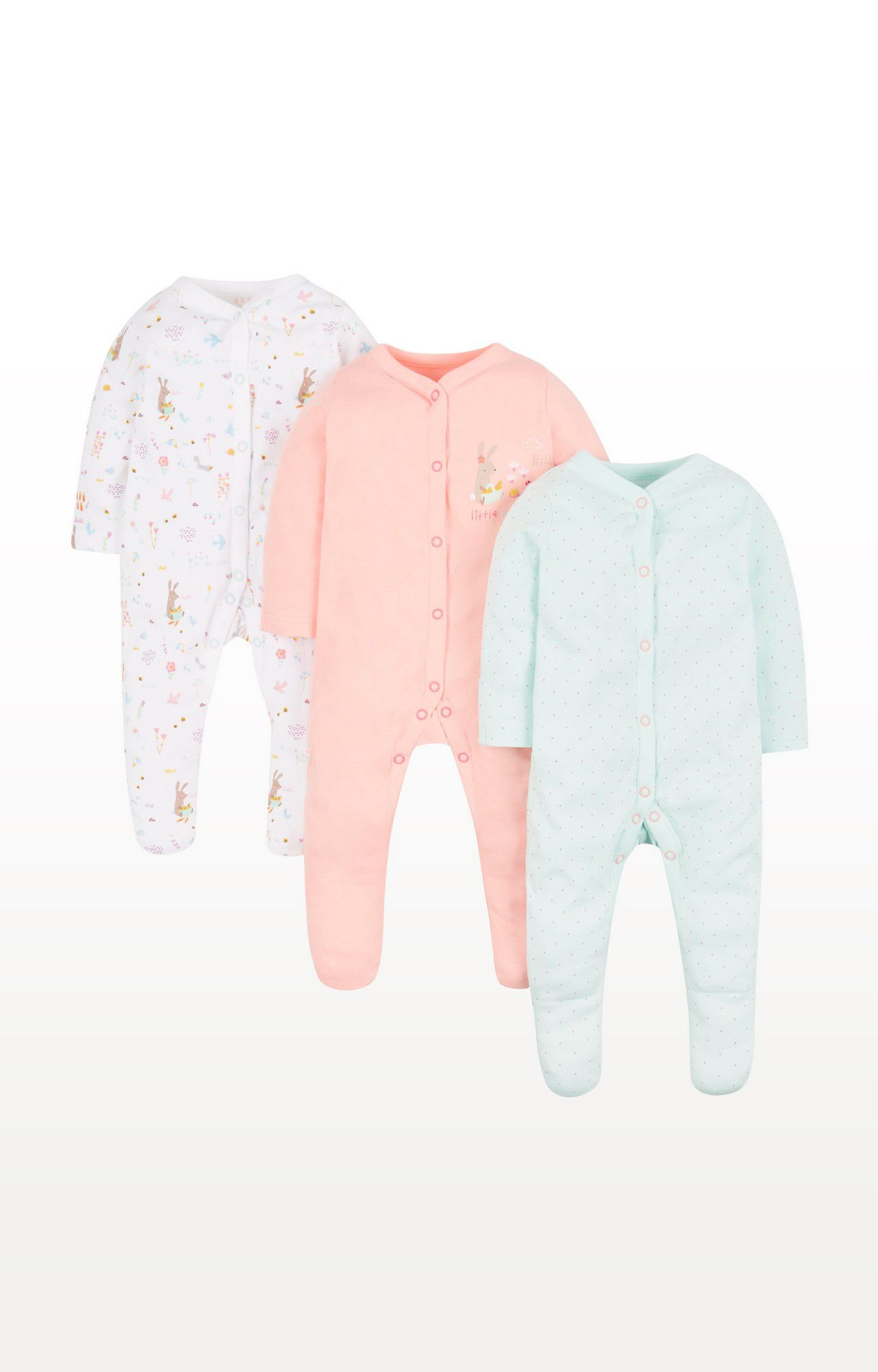 Mothercare | Little Garden Sleepsuits - Pack of 3