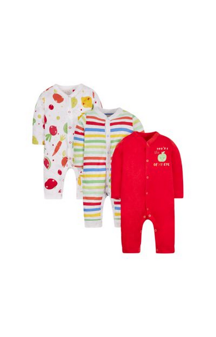 Mothercare   White, Green and Red Printed Romper - Pack of 3