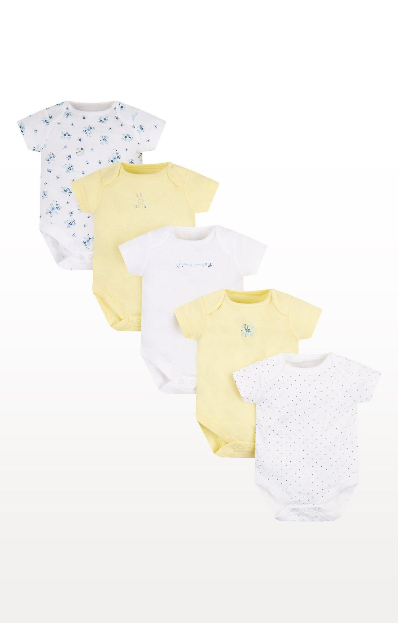 Mothercare | Lemon Bunny Bodysuits - Pack of 5