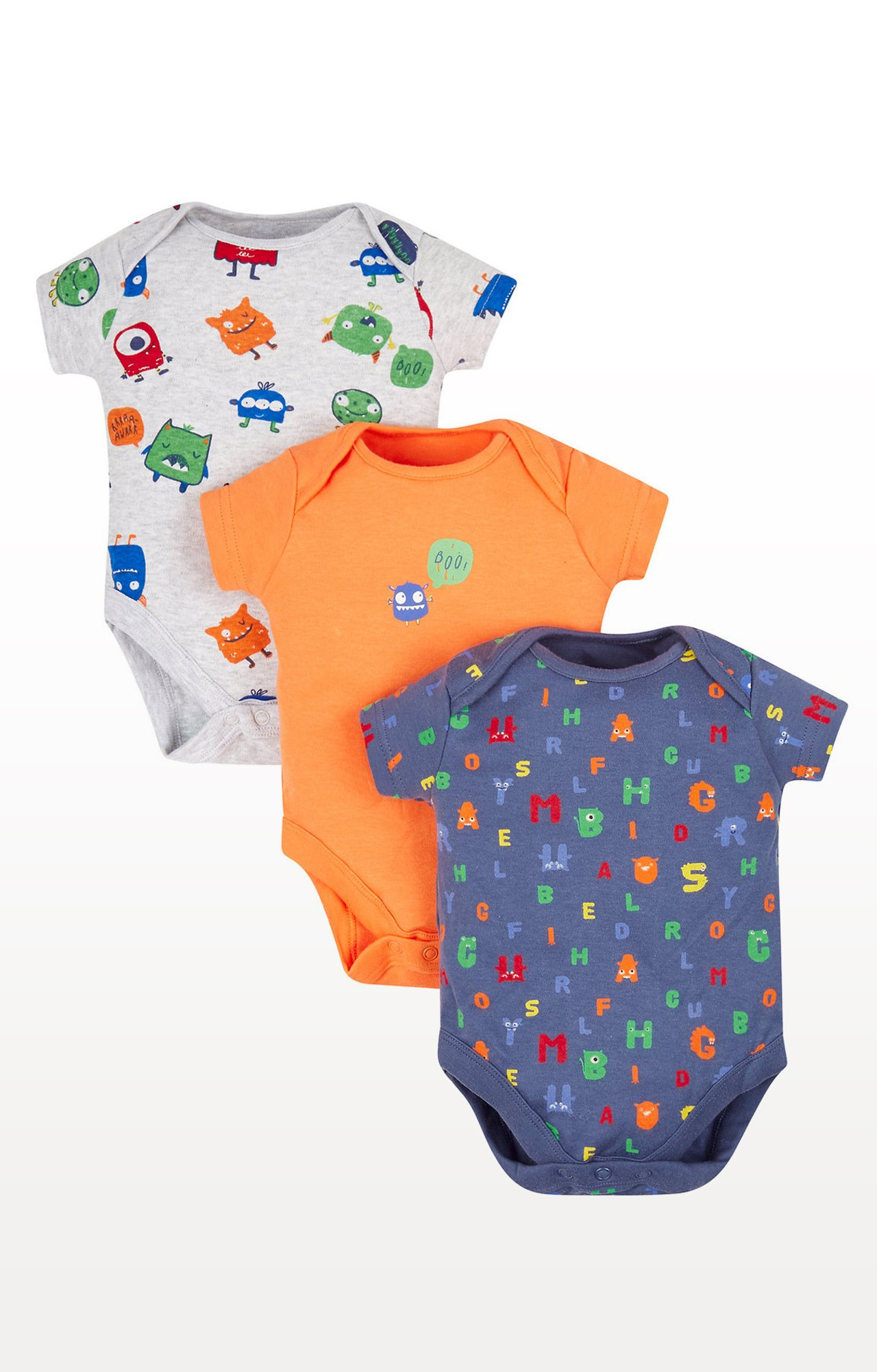 Mothercare | Grey, Orange and Blue Printed Romper - Pack of 3