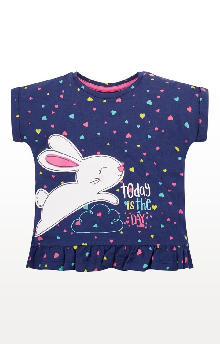 Mothercare | Navy Printed Heart and Bunny T-Shirt