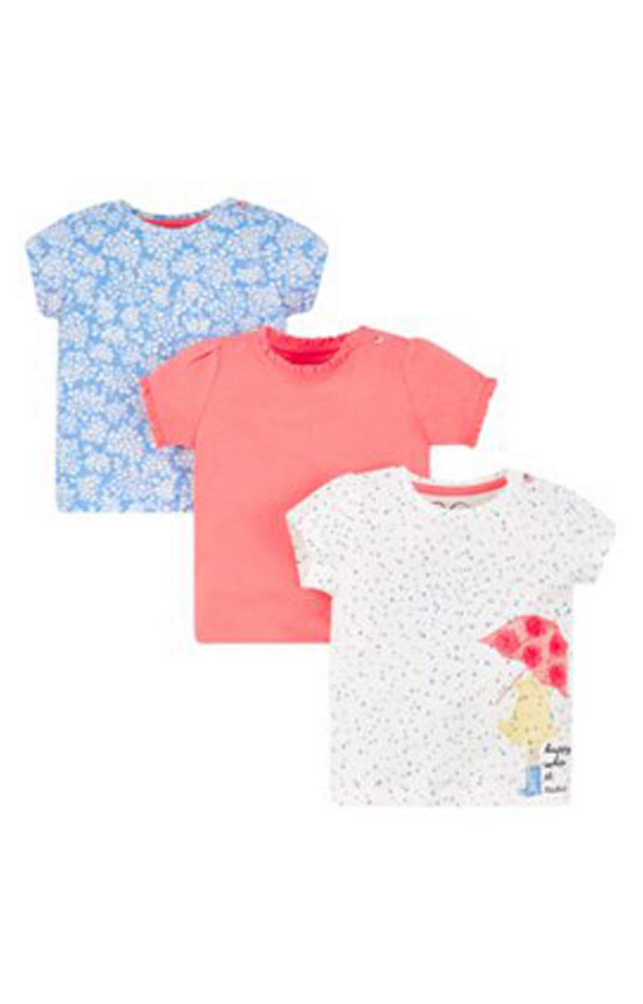Mothercare | Blue, Coral and White Printed Top - Pack of 3