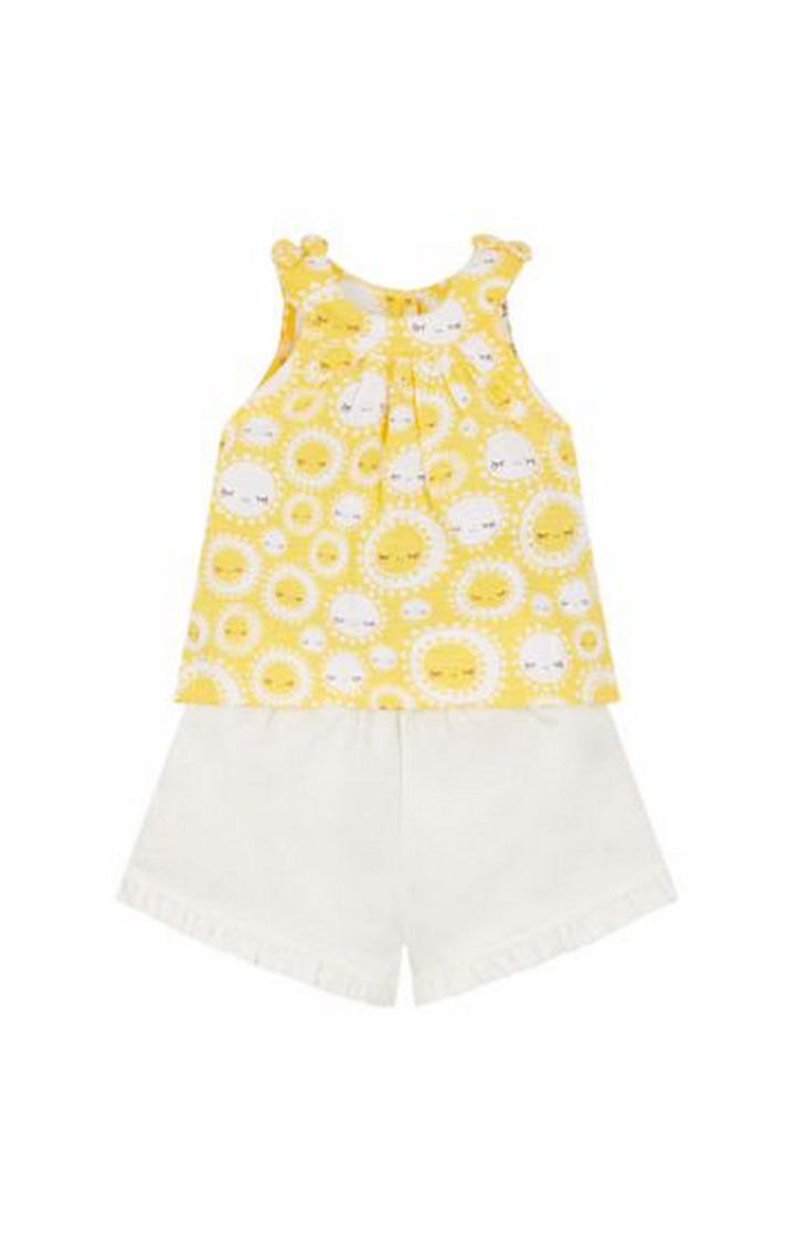 Mothercare | Yellow and White Printed Top and Pants Set