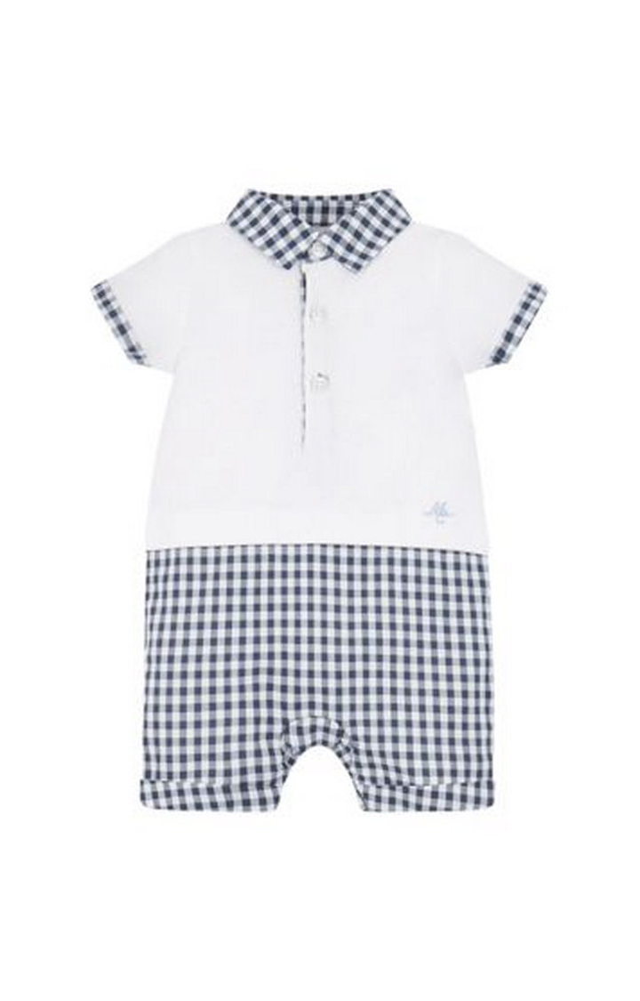 Mothercare | White and Navy Checked T-Shirt and Pants Set