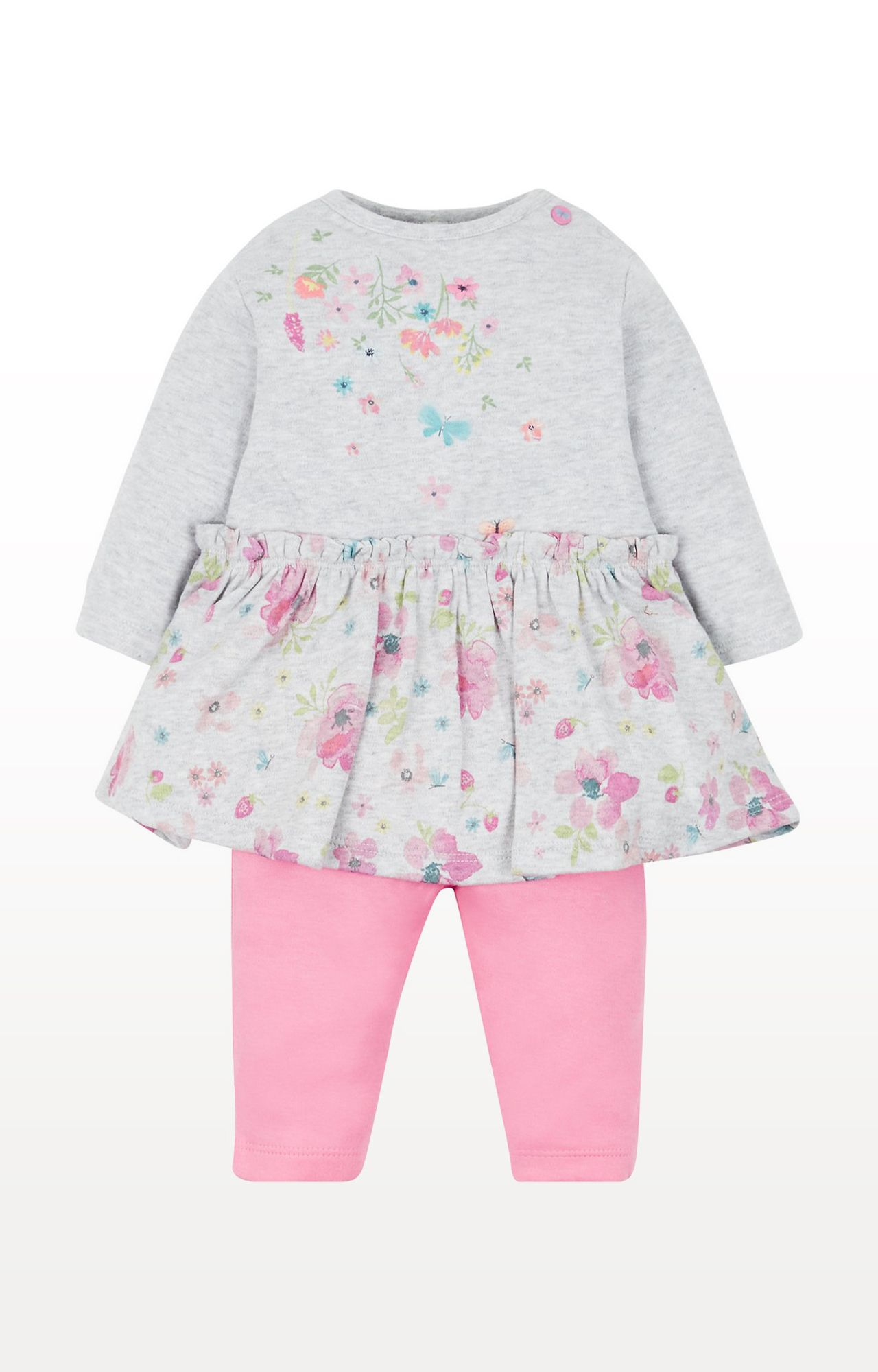 Mothercare   Grey Floral Dress and Leggings Set