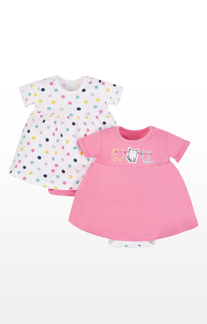 Mothercare   Cat and Spot Romper Dresses - Pack of 2