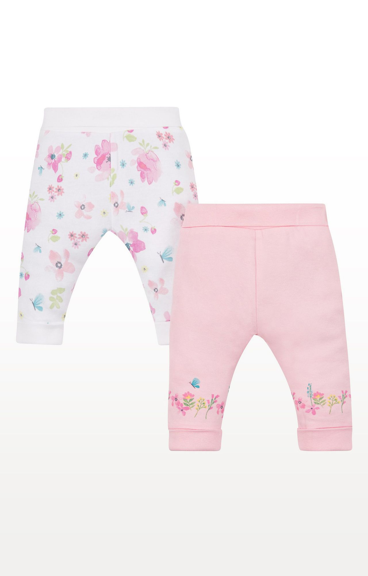 Mothercare | Pink and White Floral Joggers - Pack of 2