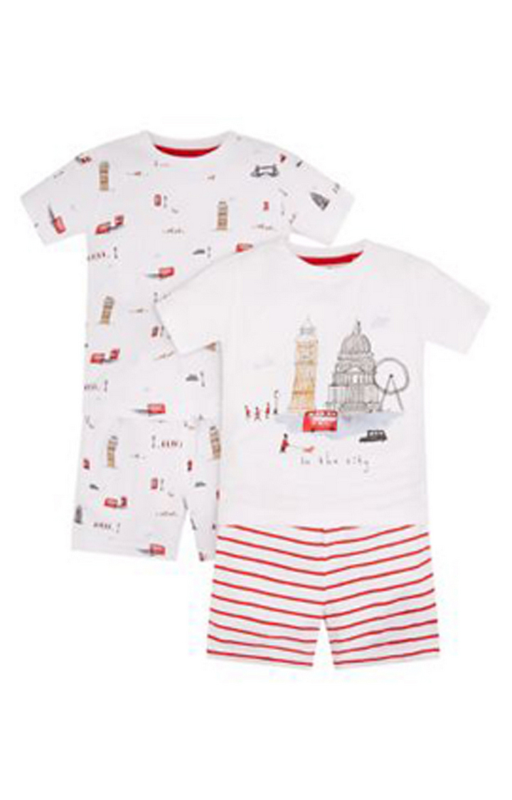 Mothercare | White Printed Nightsuit - Pack of 2