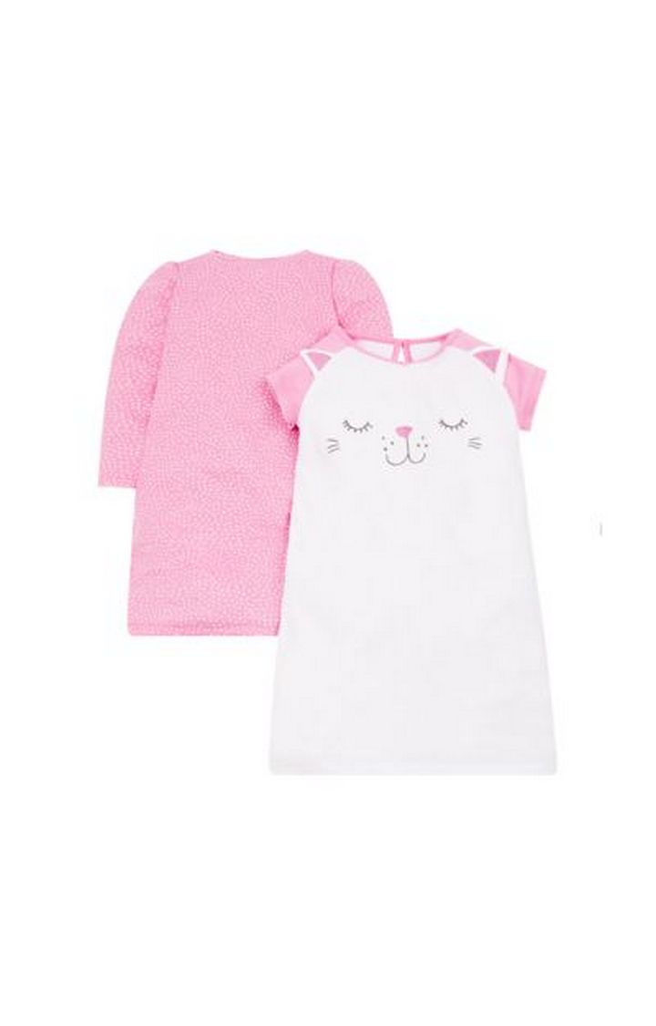Mothercare | Pink and White Printed Sleepwear Dress - Pack of 2