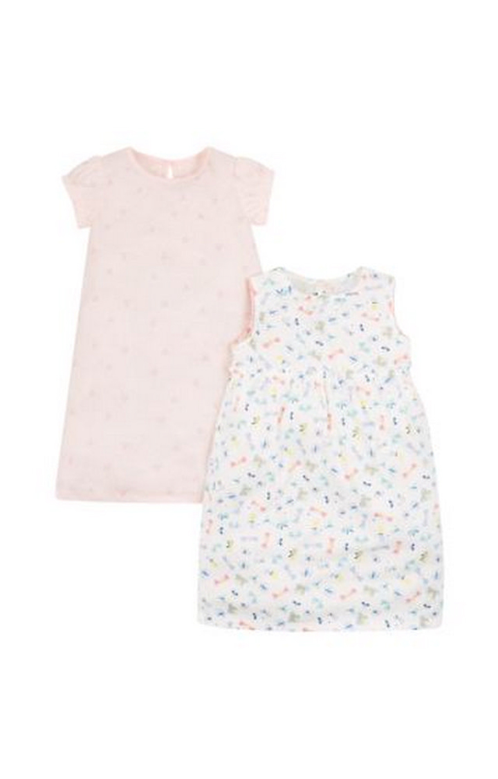 Mothercare | Peach and White Printed Sleepwear Dress - Pack of 2