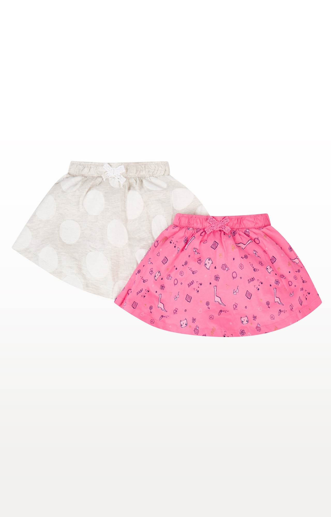 Mothercare | White and Pink Printed Skirt - Pack of 2