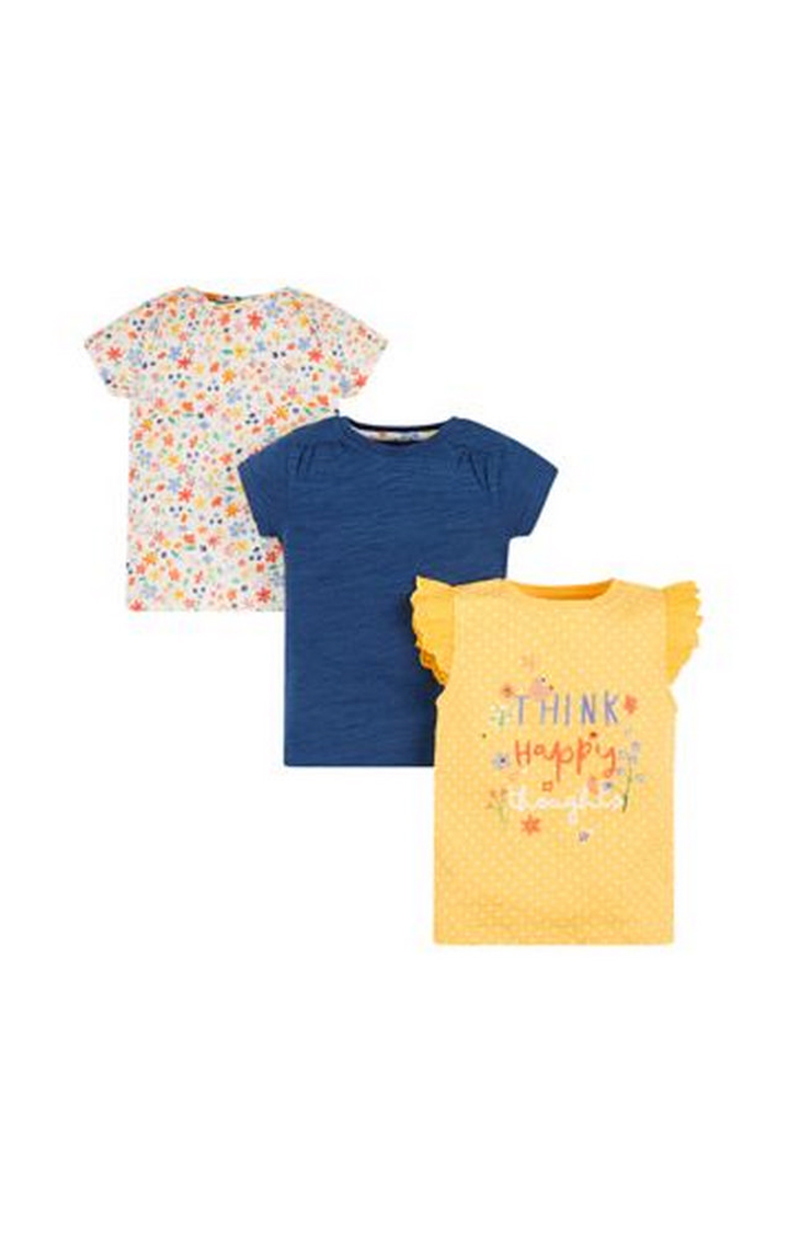 Mothercare | Cream, Navy and Yellow Printed Top - Pack of 3