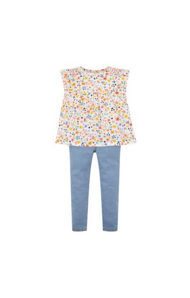 Mothercare | White and Blue Printed Top and Pant Set