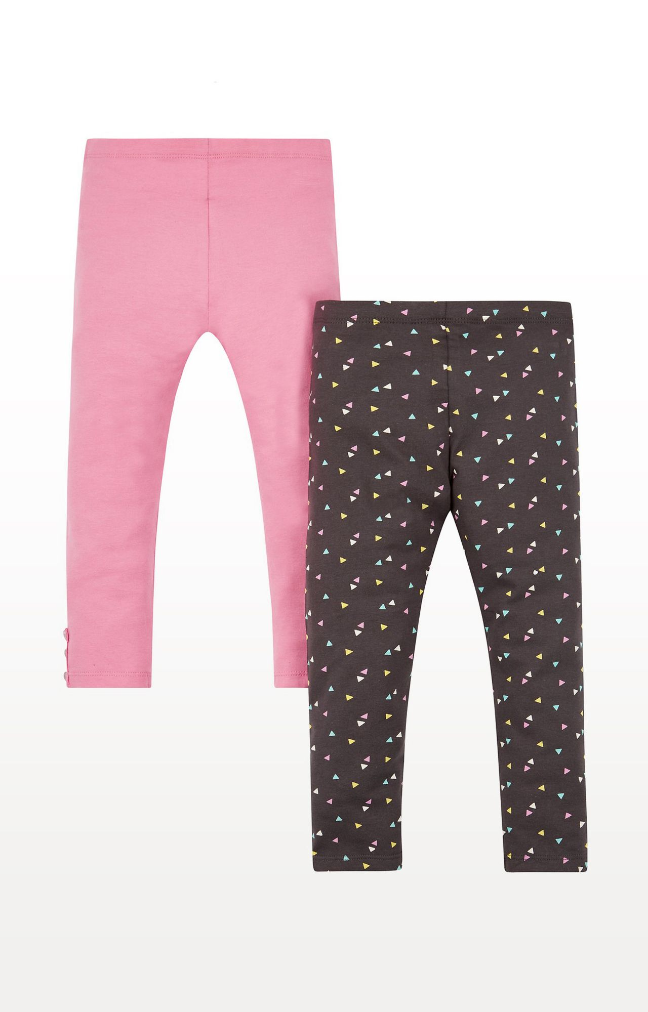 Mothercare | Pink & Black Printed Geo Leggings - Pack of 2