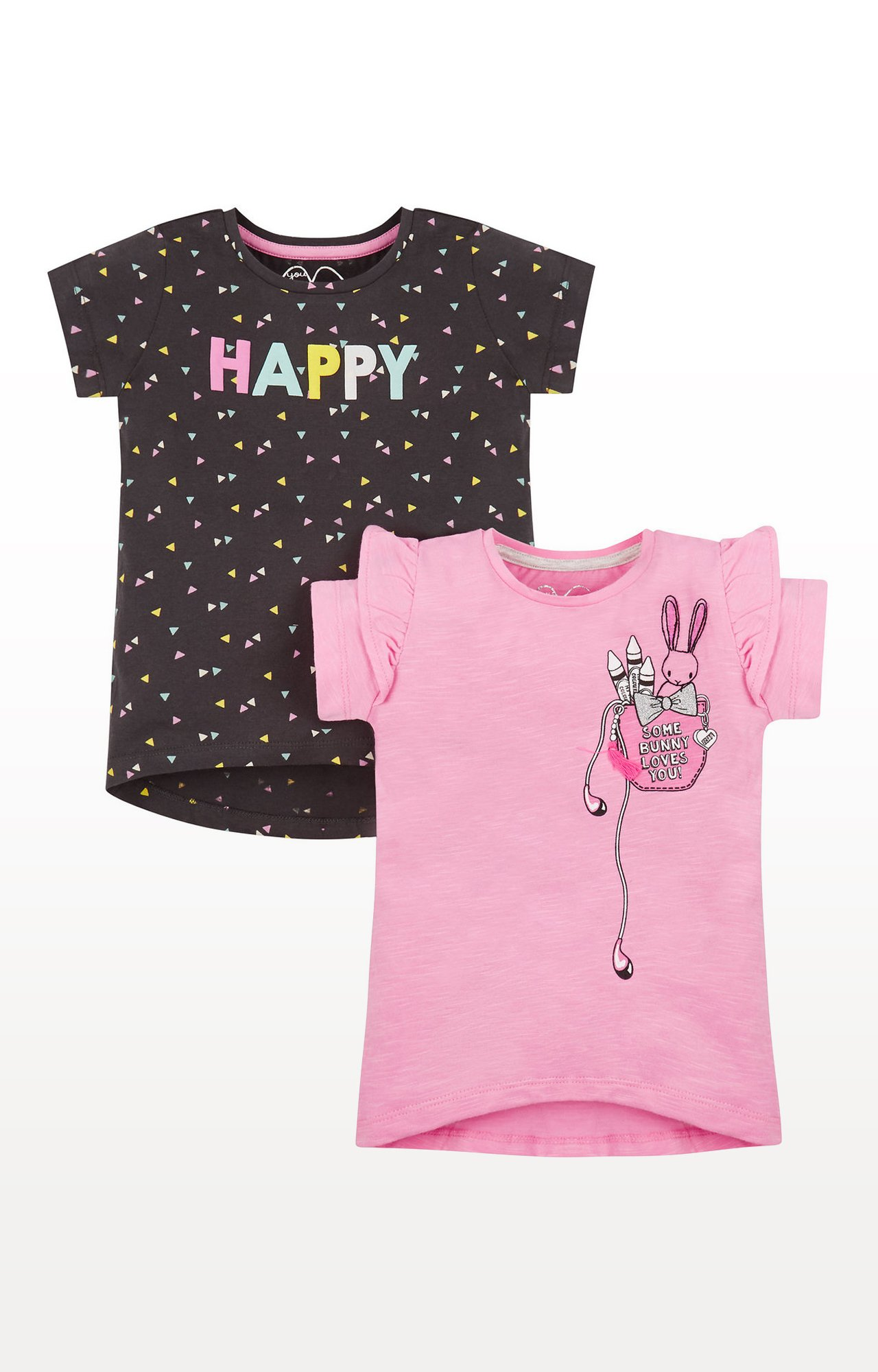 Mothercare | Brown and Pink Printed T-Shirt - Pack of 2