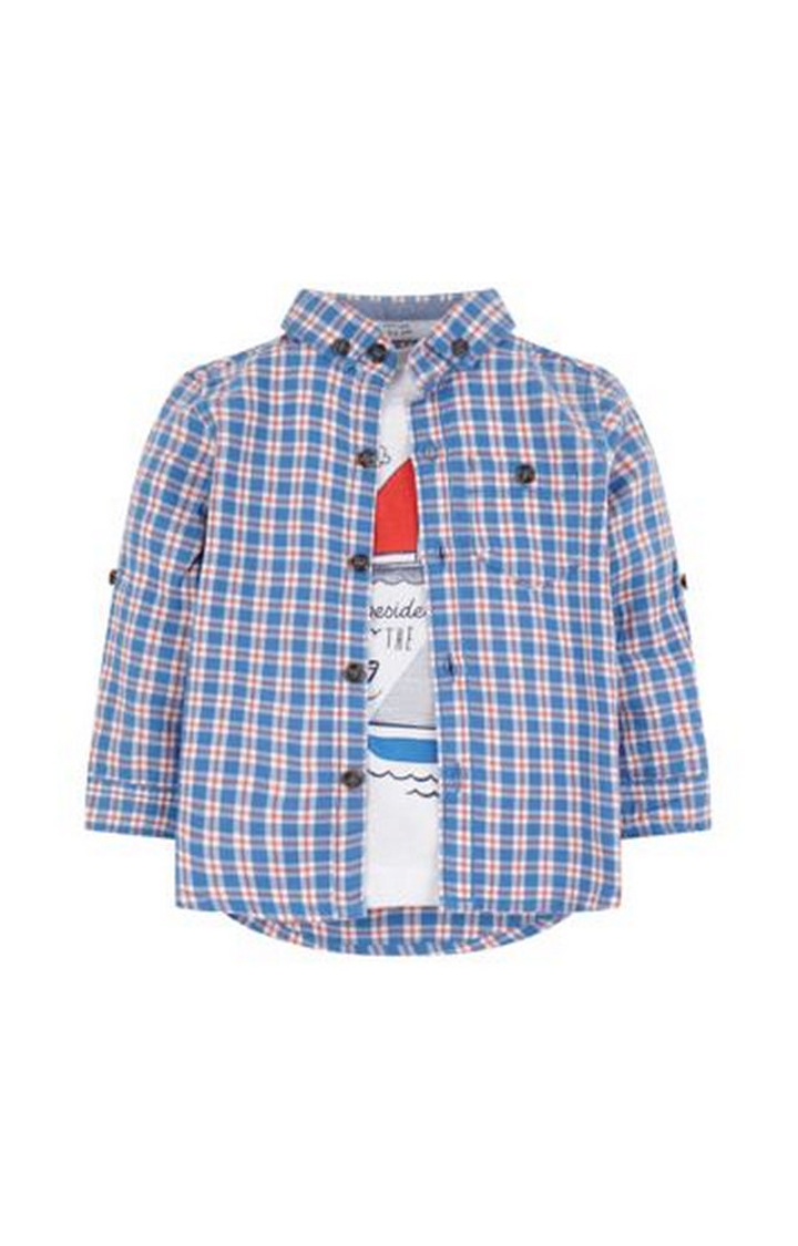 Mothercare | White and Blue Printed T-Shirt and Shirt Set