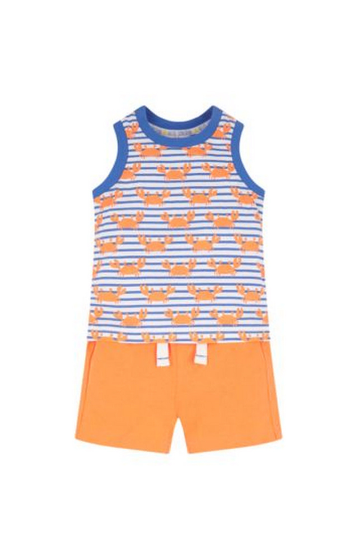 Mothercare | Blue and Orange Printed T-Shirt and Pants Set