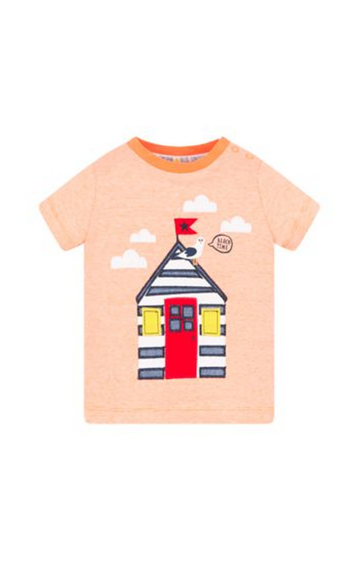 Mothercare   Orange Stripe Beach Hut T-Shirt