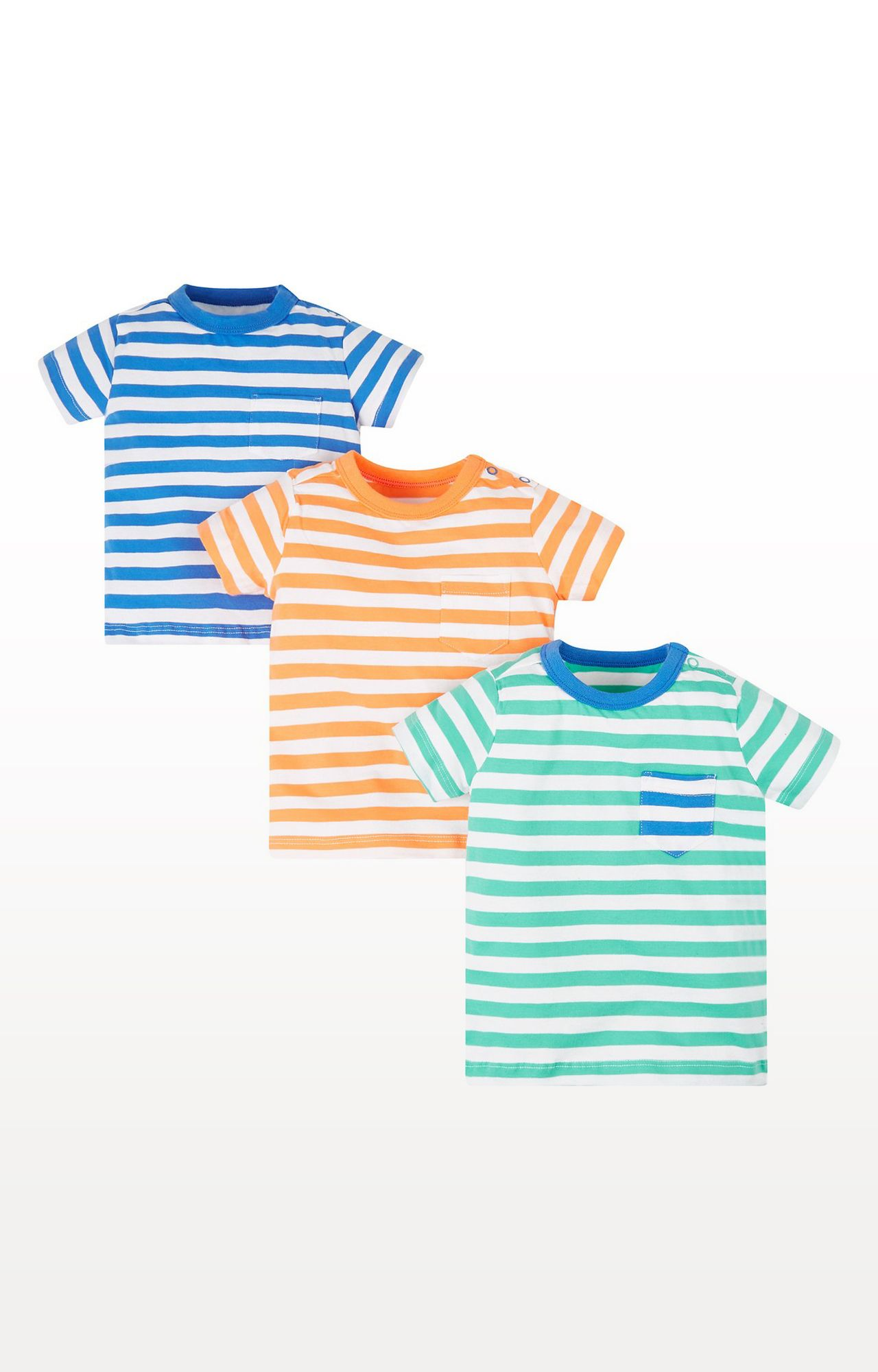 Mothercare | Green Printed Stripe T-Shirts - Pack of 3