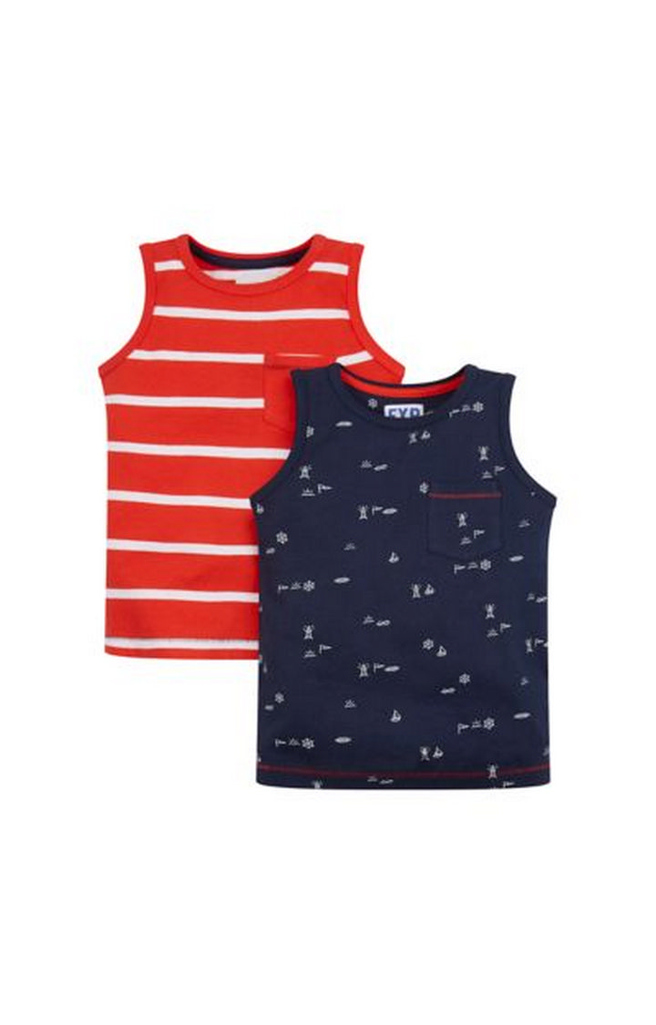 Mothercare   Red and Navy Printed T-Shirt - Pack of 2