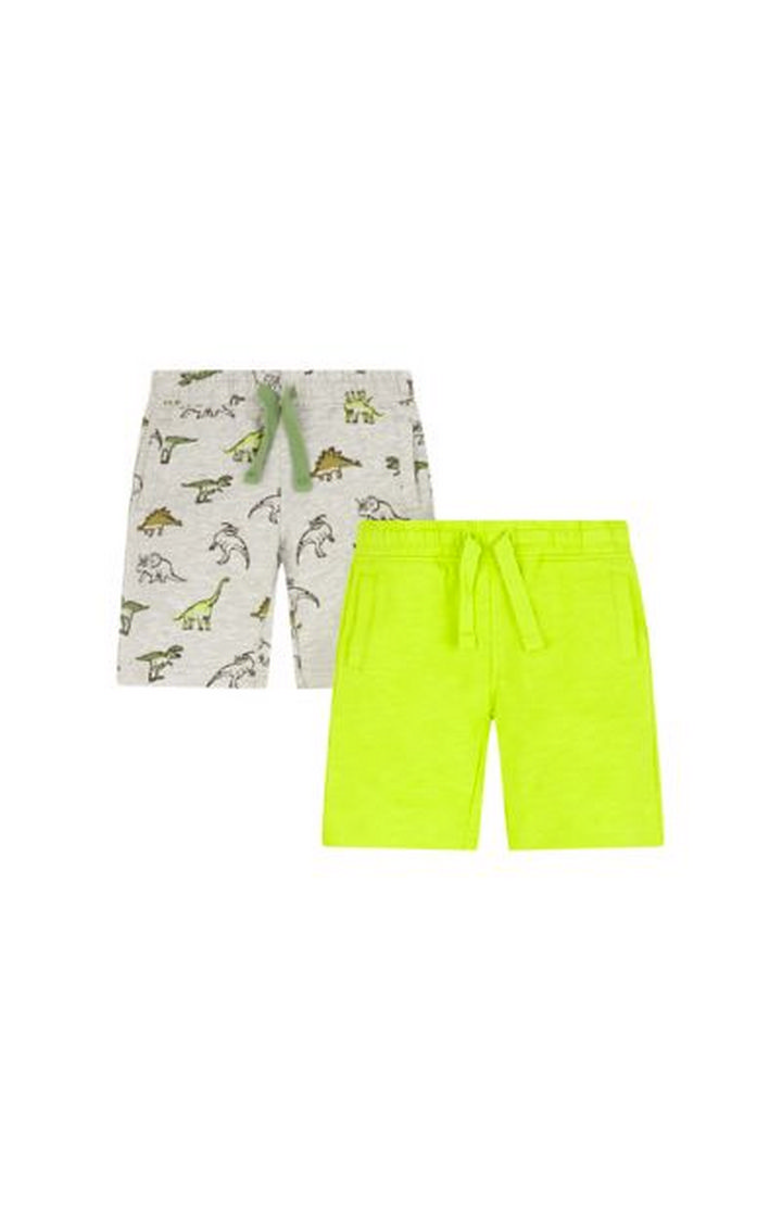 Mothercare   Grey and Lime Printed Shorts - Pack of 2