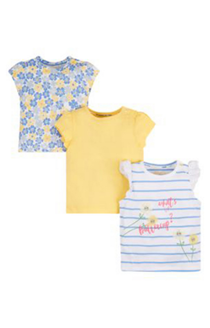 Mothercare | Blue and Yellow Printed Top - Pack of 3