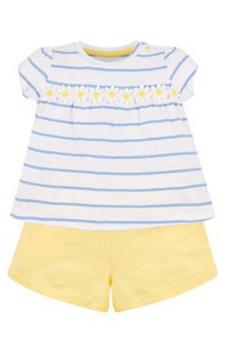 Mothercare | White and Yellow Striped Twin Set