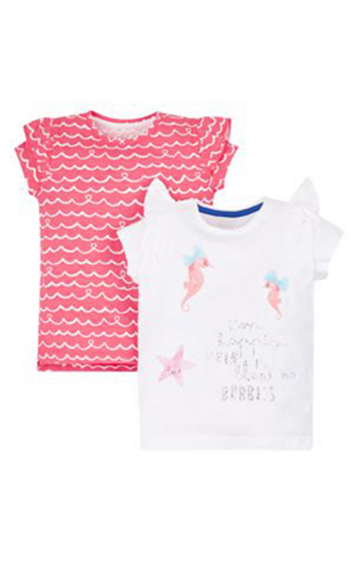Mothercare | Pink and White Printed Top - Pack of 2