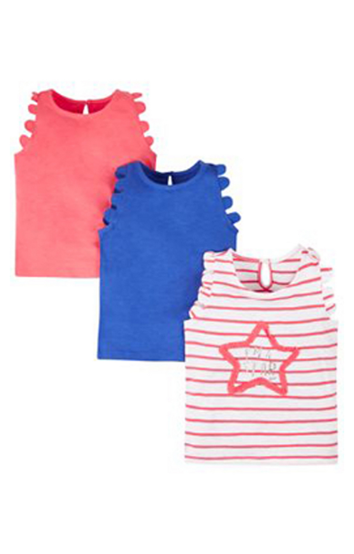 Mothercare | Coral and Blue Melange Top - Pack of 3