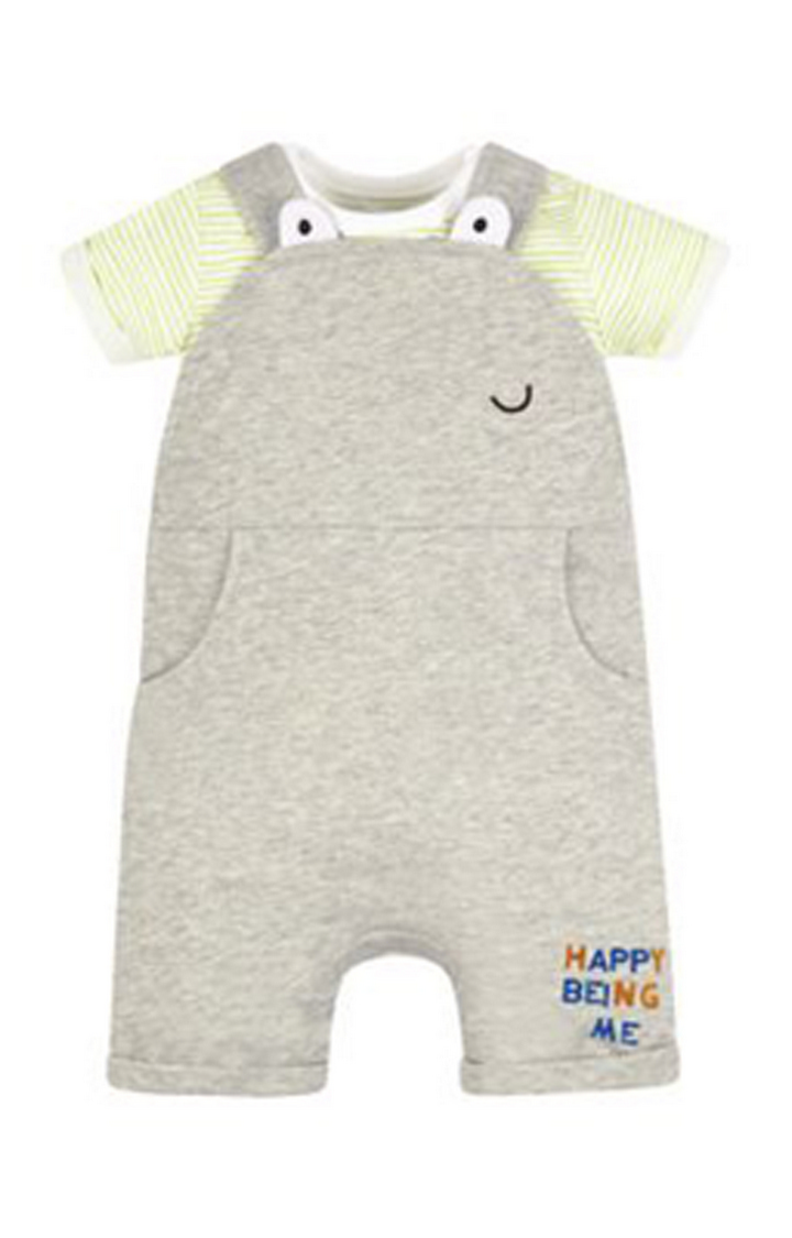 Mothercare | Yellow and Grey Melange Romper and Dungaree Set