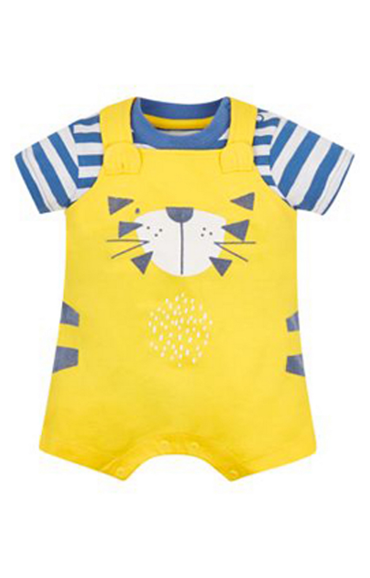 Mothercare | Yellow and Blue Printed Romper and Dungaree Set