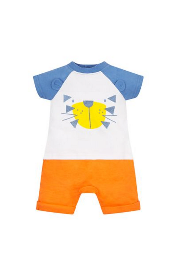 Mothercare | White and Orange Printed Rompers